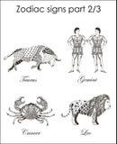 Signes de zodiaque taureau gémeaux cancer lion Partie deux Zentangle s Photographie stock