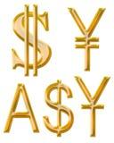 Signes des devises : yuans, Yens, dollar australien Images libres de droits