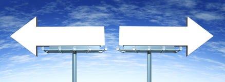 Signes directionnels blanc d'options Photos stock