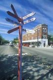 Signes directionnels chez Fremont, le centre de l'univers à Seattle, WA Photo stock