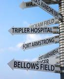 Signes directionnels pour Tripler, soufflets, Kickam et plus Images libres de droits