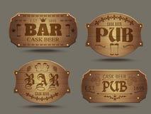 Signes en bois de barre de bar réglés illustration de vecteur