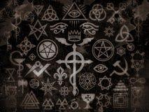 Signes et édition occultes médiévaux de crasse de vintage de timbres de magie illustration de vecteur