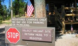 Signes et symboles dans Yellowstone Image libre de droits