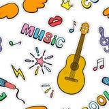 Signes et symboles de musique de bande dessinée Mod?le sans couture de vecteur de couleur illustration libre de droits