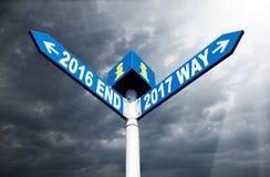 signes 2016 extrémité et 2017 de manière Photo libre de droits