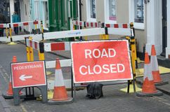 Signes fermés de route Image libre de droits