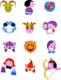 Signes/graphismes d'étoile de zodiaque Images libres de droits