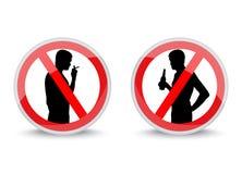 Signes interdisant fumer et boire l'alcool Photographie stock