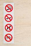 Signes interdits Photographie stock