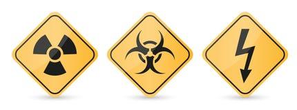 Signes jaunes de danger Diamant de signe Rayonnement, signe de biohazard d'isolement sur le fond blanc illustration stock