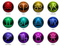 Signes lustrés de zodiaque Photos libres de droits
