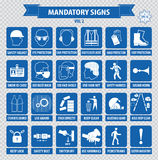 Signes obligatoires, santé de construction, signe de sécurité utilisé dans des applications industrielles Image libre de droits