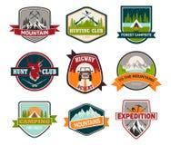 Signes ou insignes pour chasser et s'élever, campant illustration de vecteur