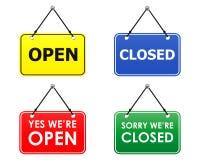 Signes ouverts et fermés (vecteur) Photographie stock