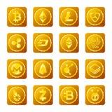 Signes principaux de cryptocurrency réglés sur le fond transparent illustration libre de droits