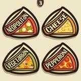 Signes réglés de vecteur pour la pizza italienne Image libre de droits