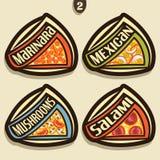 Signes réglés de vecteur pour la pizza italienne Images libres de droits