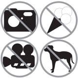signes réglés interdits Image stock