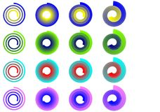 Signes spiralés colorés Images libres de droits