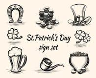 Signes tirés par la main de jour de St Patricks Photo libre de droits