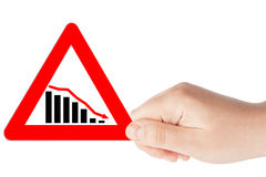 Signes triangulaires de diagramme avec la main Photographie stock