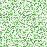 Signes verts des devises du monde sur le blanc, sans couture illustration de vecteur