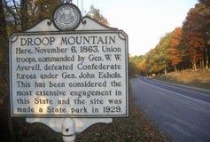 Signez à l'entrée du parc d'état de champ de bataille de montagne d'abattement, champ de bataille de guerre civile, l'itinéraire  Image stock