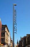 Signez au début de la ville marchande, Glasgow Image libre de droits
