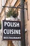 Signez au restaurant de la cuisine polonaise dans le cent Photos libres de droits