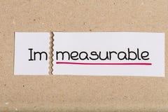 Signez avec incalculable de mot transformé en mesurable photographie stock