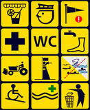 Signez avec 12 icônes d'instuctional pour la plage publique images stock