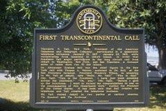 Signez commémorer le premier appel téléphonique transcontinental en île de Jekyll, GA image libre de droits