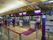 Signez contre à l'intérieur de l'aéroport de Taïpeh Songshan Photos stock