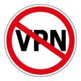 Signez interdire le service VPN, rouge d'Anonymizer d'utilisation de vecteur de signe biffé entourent le mot VPN, Virtual Private Images stock