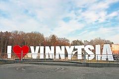 Signez l'AMOUR VINNYTSIA au centre de la ville, Vinnytsia d'I Photo stock