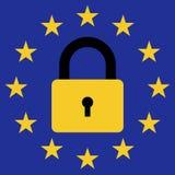 Signez l'interdiction de l'entrée des migrants dans l'Union européenne, drapeau d'icône de vecteur de l'UE avec un symbole fermé  Photographie stock