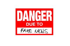 Signez le danger dû à de fausses actualités d'isolement sur le blanc images libres de droits