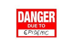 Signez le danger dû à l'épidémie d'isolement sur le blanc illustration stock