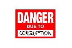 Signez le danger dû à la corruption d'isolement sur le blanc illustration de vecteur