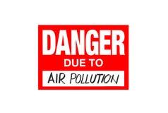 Signez le danger dû à la pollution atmosphérique d'isolement sur le blanc illustration de vecteur