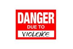 Signez le danger dû à la violence d'isolement sur le blanc photo stock