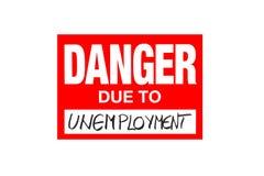 Signez le danger dû au chômage d'isolement sur le blanc illustration libre de droits