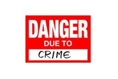 Signez le danger dû au crime d'isolement sur le blanc photos stock