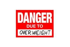 Signez le danger dû au poids excessif d'isolement sur le blanc illustration stock