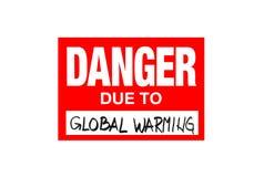 Signez le danger dû au réchauffement global d'isolement sur le blanc illustration stock