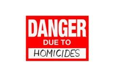 Signez le danger dû aux homicides d'isolement sur le blanc photo libre de droits
