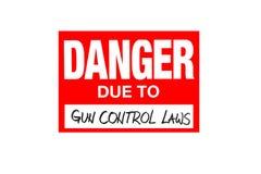 Signez le danger dû aux lois de contrôle des armes d'isolement sur le blanc image stock