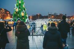 Signez les salutations de l'arbre de Vilnius et de Noël à Vilnius Lithuanie 2015 Photos stock