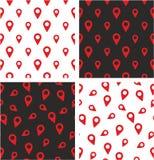 Signez ou emplacement ou Pin Icon Big et petit ensemble de couleur rouge sans couture aligné et aléatoire de modèle Images libres de droits
